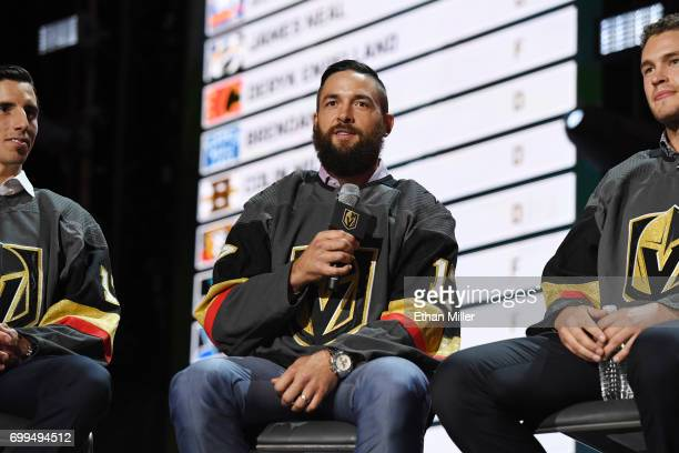 Deryk Engelland is interviewed after being selected by the Vegas Golden Knights during the 2017 NHL Awards and Expansion Draft at TMobile Arena on...