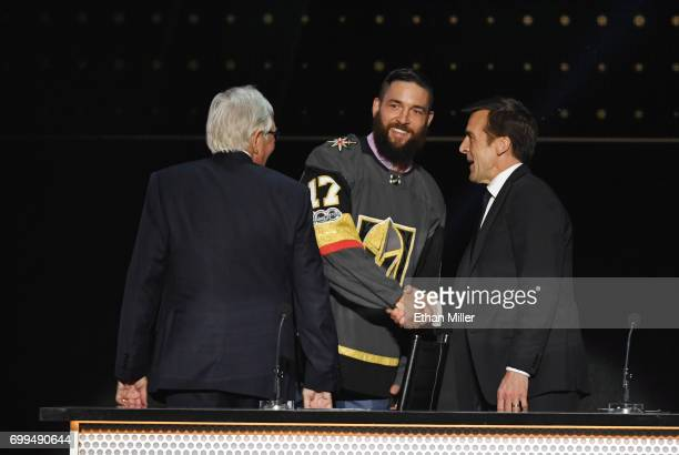 Deryk Engelland is selected by the Vegas Golden Knights during the 2017 NHL Awards and Expansion Draft at TMobile Arena on June 21 2017 in Las Vegas...