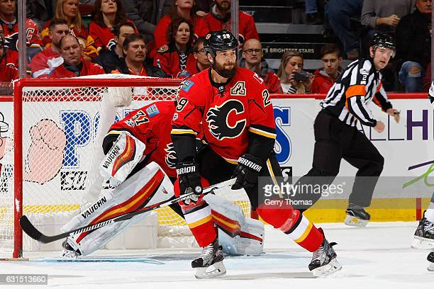 Deryk Engelland of the Calgary Flames skates against the San Jose Sharks during an NHL game on January 11 2017 at the Scotiabank Saddledome in...