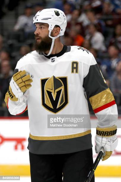 Deryk Engelland of the Vegas Golden Knighhts plays the Colorado Avalanche at the Pepsi Center on September 19 2017 in Denver Colorado