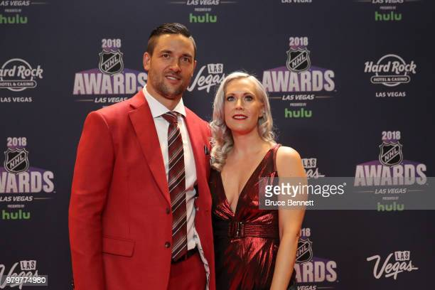 Deryk Engelland of the Vegas Golden Knights and Melissa Engelland arrive at the 2018 NHL Awards presented by Hulu at the Hard Rock Hotel Casino on...