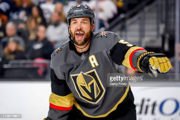 Deryk Engelland of the Vegas Golden Knights calls out instructions during third period action against the Winnipeg Jets at TMobile Arena on February...