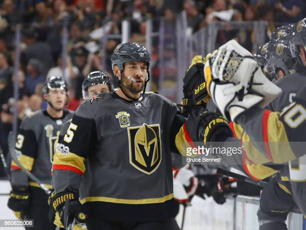 Deryk Engelland of the Vegas Golden Knights celebrates a first period goal against the Arizona Coyotes during the Golden Knights' inaugural...