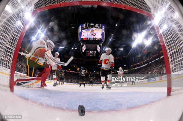 Deryk Engelland of the Vegas Golden Knights celebrates after scoring a goal during the third period against the Calgary Flames at TMobile Arena on...