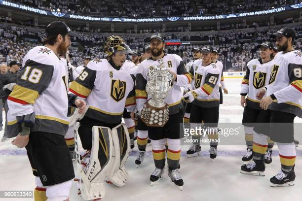 Deryk Engelland of the Vegas Golden Knights celebrates with the Clarence S Campbell Bowl after defeating the Winnipeg Jets 21 in Game Five of the...