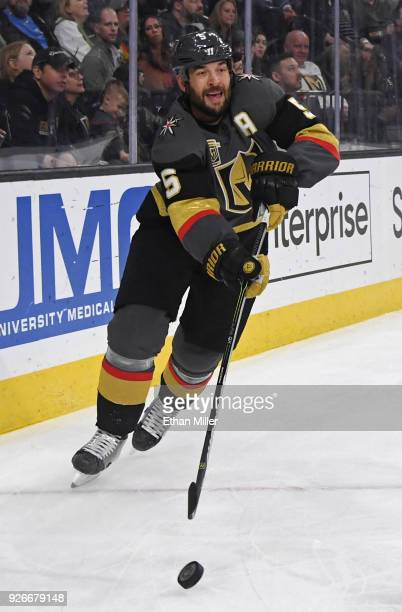 Deryk Engelland of the Vegas Golden Knights clears the puck from behind the net in the first period of a game against the Ottawa Senators at TMobile...