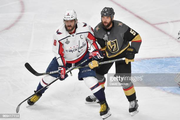 Deryk Engelland of the Vegas Golden Knights defends Alex Ovechkin of the Washington Capitals in Game Five of the Stanley Cup Final during the 2018...