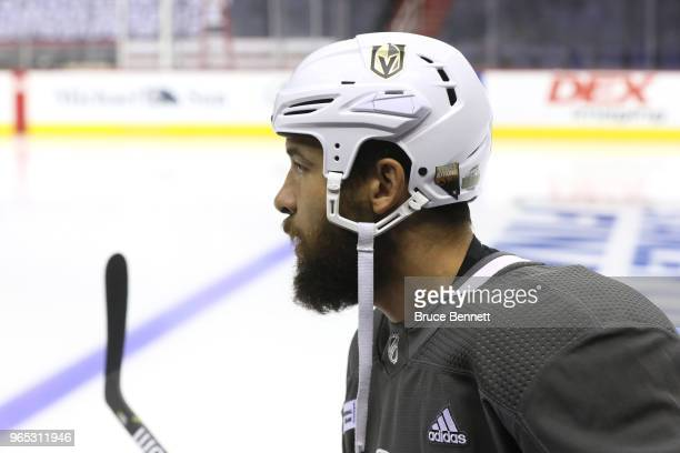 Deryk Engelland of the Vegas Golden Knights looks on during a practice session for the 2018 NHL Stanley Cup Final at Capital One Arena on June 1 2018...