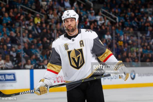 Deryk Engelland of the Vegas Golden Knights looks on during the game against the San Jose Sharks at SAP Center on February 8 2018 in San Jose...