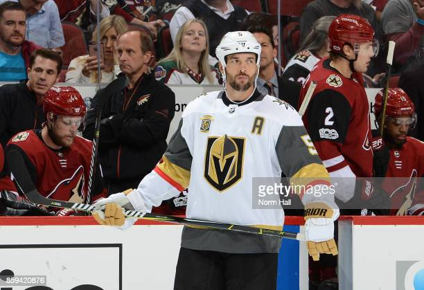 Deryk Engelland of the Vegas Golden Knights looks up ice during a stop in play against the Arizona Coyotes at Gila River Arena on October 7 2017 in...