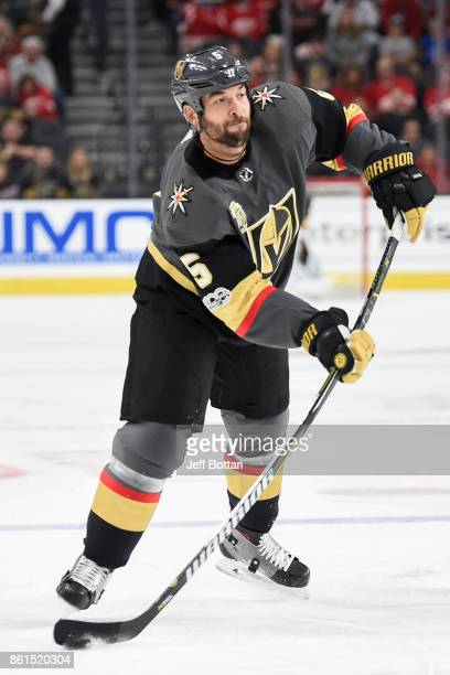 Deryk Engelland of the Vegas Golden Knights passes the puck against the Detroit Red Wings during the game at TMobile Arena on October 13 2017 in Las...
