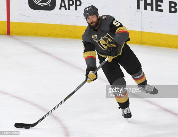 Deryk Engelland of the Vegas Golden Knights passes the puck against the Winnipeg Jets in the first period of Game Four of the Western Conference...