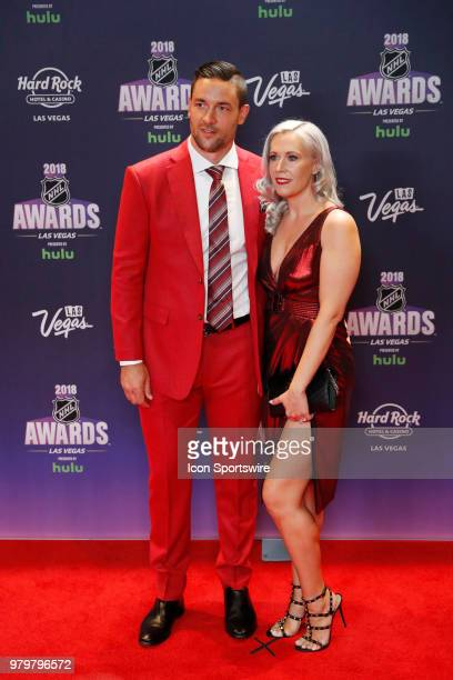 Deryk Engelland of the Vegas Golden Knights poses for photos on the red carpet with his wife Melissa during the 2018 NHL Awards presented by Hulu at...