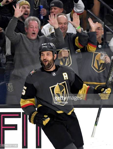 Deryk Engelland of the Vegas Golden Knights reacts after scoring a second-period goal against the Chicago Blackhawks during their game at T-Mobile...