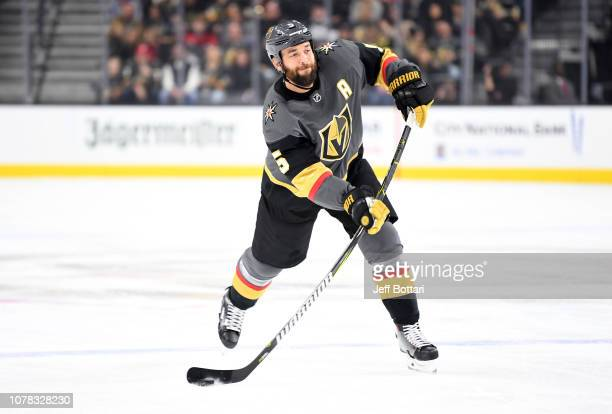 Deryk Engelland of the Vegas Golden Knights shoots the puck during the first period against the New Jersey Devils at T-Mobile Arena on January 6,...