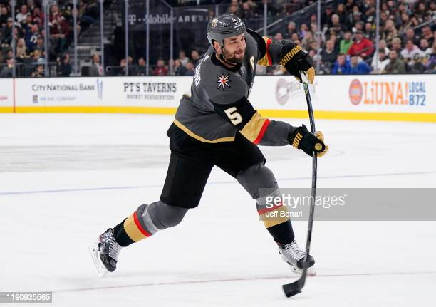 Deryk Engelland of the Vegas Golden Knights shoots the puck during the third period against the Arizona Coyotes at T-Mobile Arena on November 29,...