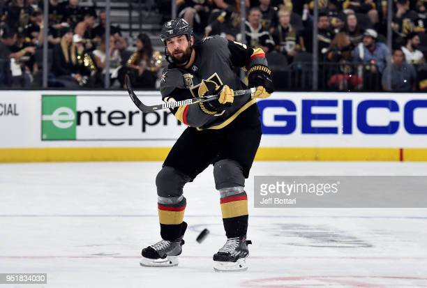 Deryk Engelland of the Vegas Golden Knights shoots the puck during the third period against the San Jose Sharks in Game One of the Western Conference...