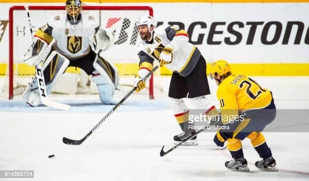 Deryk Engelland of the Vegas Golden Knights skates against the Nashville Predators during a NHL game at Bridgestone Arena on January 16 2018 in...