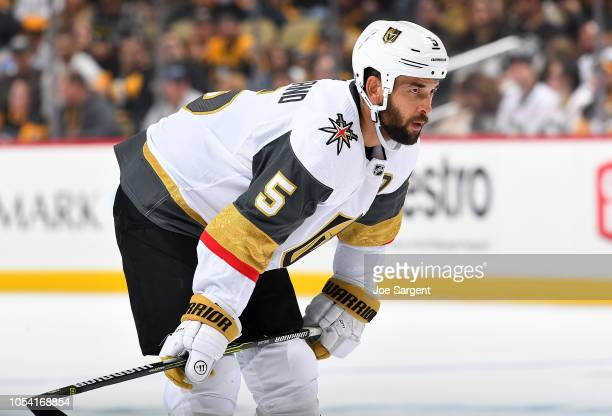 Deryk Engelland of the Vegas Golden Knights skates against the Pittsburgh Penguins at PPG Paints Arena on October 11 2018 in Pittsburgh Pennsylvania