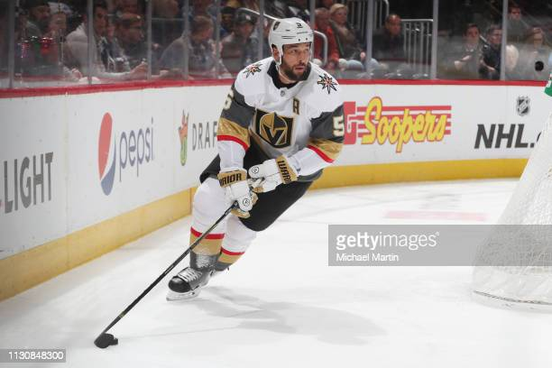 Deryk Engelland of the Vegas Golden Knights skates against the Colorado Avalanche at the Pepsi Center on February 18, 2019 in Denver, Colorado. The...