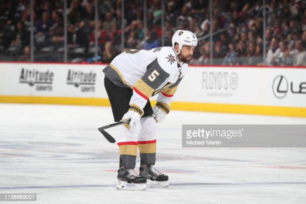 Deryk Engelland of the Vegas Golden Knights skates against the Colorado Avalanche at the Pepsi Center on March 27, 2019 in Denver, Colorado. The...