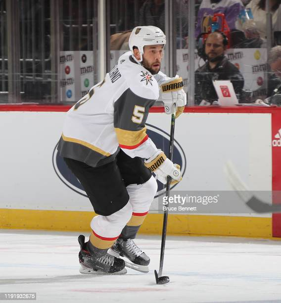 Deryk Engelland of the Vegas Golden Knights skates against the New Jersey Devils at the Prudential Center on December 03, 2019 in Newark, New Jersey.