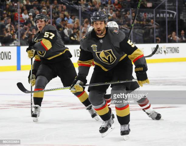 Deryk Engelland of the Vegas Golden Knights skates against the Arizona Coyotes during the Golden Knights' inaugural regularseason home opener at...