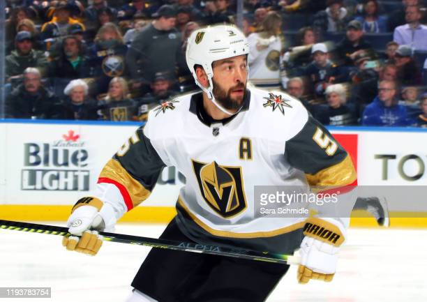 Deryk Engelland of the Vegas Golden Knights skates during an NHL game against the Buffalo Sabres on January 14, 2020 at KeyBank Center in Buffalo,...