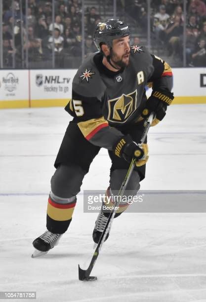 Deryk Engelland of the Vegas Golden Knights skates during the first period against the Ottawa Senators at TMobile Arena on October 28 2018 in Las...