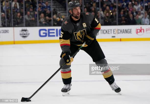 Deryk Engelland of the Vegas Golden Knights skates during the first period against the Toronto Maple Leafs at TMobile Arena on November 19 2019 in...