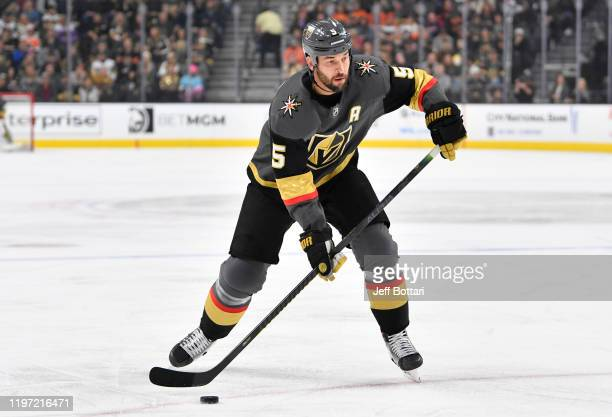 Deryk Engelland of the Vegas Golden Knights skates during the first period against the Philadelphia Flyers at T-Mobile Arena on January 02, 2020 in...