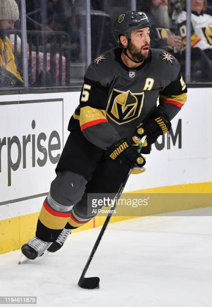 Deryk Engelland of the Vegas Golden Knights skates during the third period against the Minnesota Wild at T-Mobile Arena on December 17, 2019 in Las...
