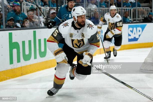 Deryk Engelland of the Vegas Golden Knights skates in Game Six of the Western Conference Second Round against the San Jose Sharks during the 2018 NHL...