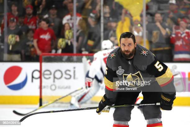 Deryk Engelland of the Vegas Golden Knights skates in warmups prior to the game against the Washington Capitals in Game One of the 2018 NHL Stanley...