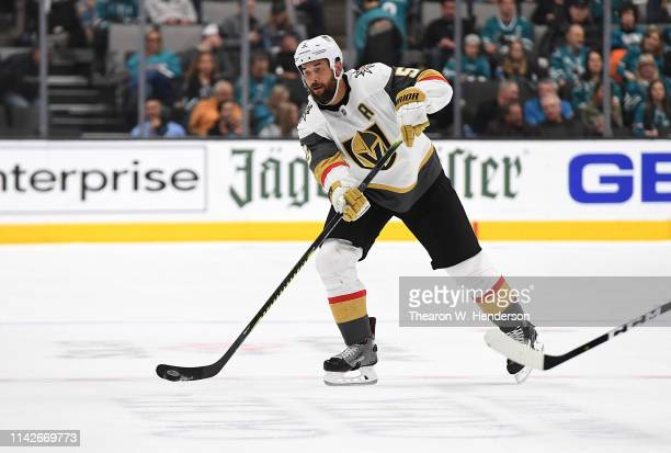 Deryk Engelland of the Vegas Golden Knights skates with control of the puck against the San Jose Sharks during the third period in Game Two of the...