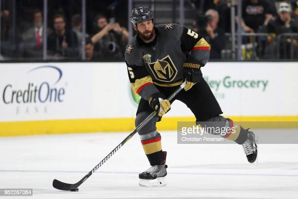Deryk Engelland of the Vegas Golden Knights skates with the puck in Game One of the Western Conference Second Round against the San Jose Sharks...