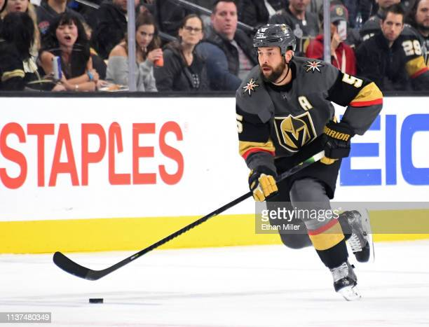 Deryk Engelland of the Vegas Golden Knights skates with the puck against the Winnipeg Jets in the second period of their game at T-Mobile Arena on...