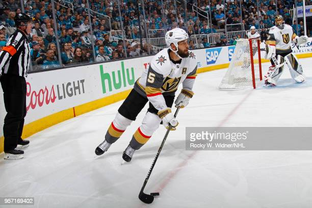 Deryk Engelland of the Vegas Golden Knights skates with the puck against the San Jose Sharks in Game Six of the Western Conference Second Round...