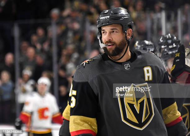 Deryk Engelland of the Vegas Golden Knights smiles after scoring a thirdperiod goal against the Calgary Flames during their game at TMobile Arena on...