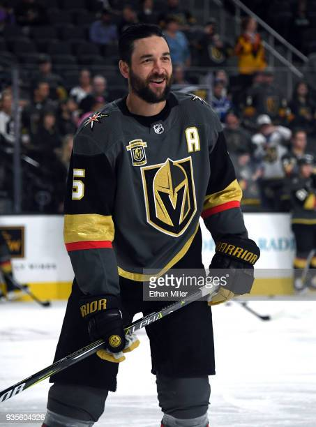 Deryk Engelland of the Vegas Golden Knights smiles during warmups before a game against the Vancouver Canucks at TMobile Arena on March 20 2018 in...