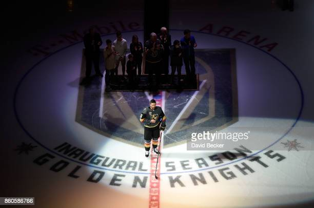 Deryk Engelland of the Vegas Golden Knights speaks during the pregame ceremony honoring the victim of the Las Vegas shooting before the Arizona...