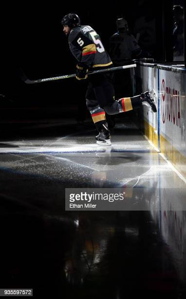 Deryk Engelland of the Vegas Golden Knights steps onto the ice for a game against the Vancouver Canucks at TMobile Arena on March 20 2018 in Las...