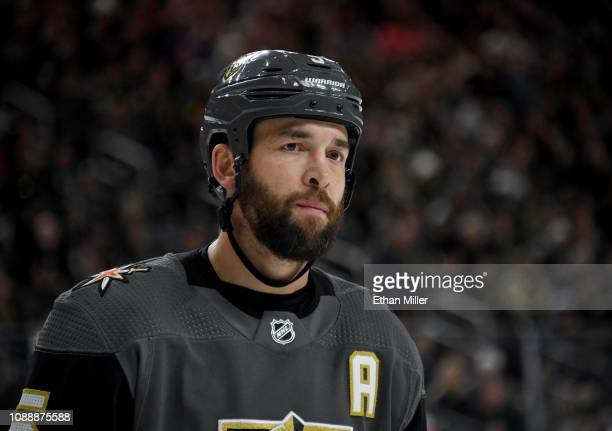 Deryk Engelland of the Vegas Golden Knights takes a break during a stop in play in the third period of a game against the Los Angeles Kings at...