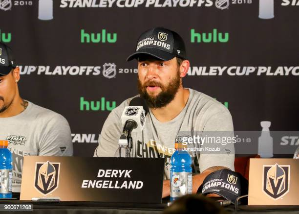 Deryk Engelland of the Vegas Golden Knights takes part in the postgame press conference following a 21 victory over the Winnipeg Jets in Game Five of...