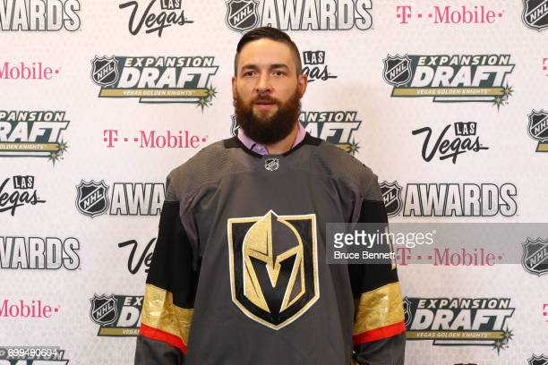 Deryk Engelland poses for a photo after being selected by the Vegas Golden Knights during the 2017 NHL Awards and Expansion Draft at TMobile Arena on...