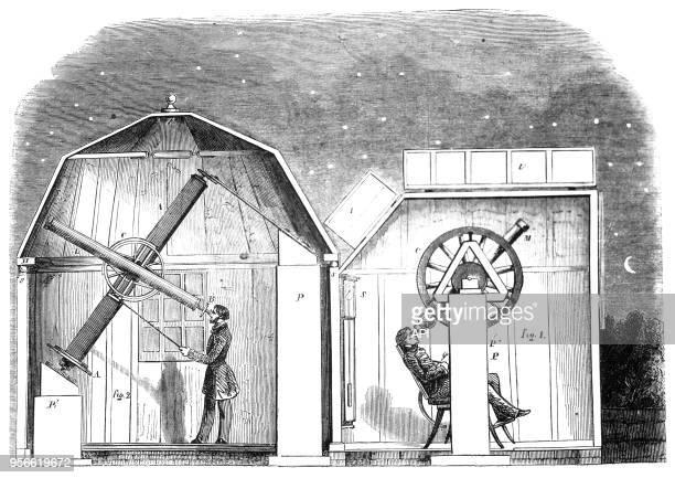 Des amateurs observent le ciel avec leurs télescopes gravure tirée du 'Magasin pittoresque' de Charton