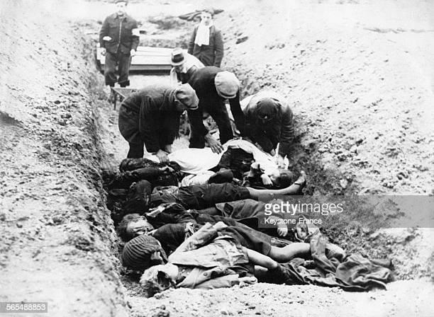 Des civils allemands exhumant des corps de prisonniers juifs russes assassinés pour être ensuite incinérés décemment le 2 mai 1945 à Wulfel en...