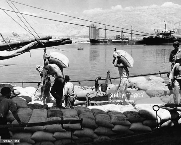 Des dockers déchargent des sacs de céréales apportés par l'aide américaine dans le port circa 1940 à Athènes Grèce