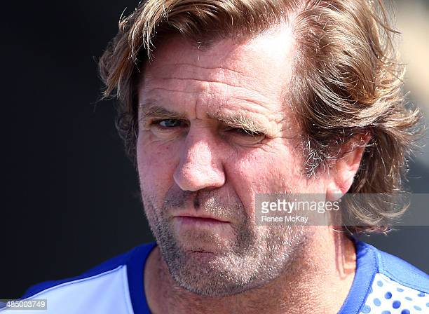 Des Hasler arrives for a Canterbury Bulldogs NRL training session at Belmore Oval on April 16 2014 in Sydney Australia