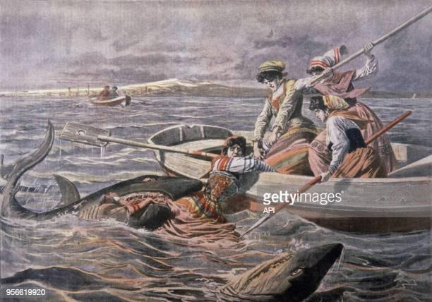 Des jeunes filles en barque sont attaquées par des requins selon la gravure du Petit Journal du 9 août 1908 à Trieste Italie